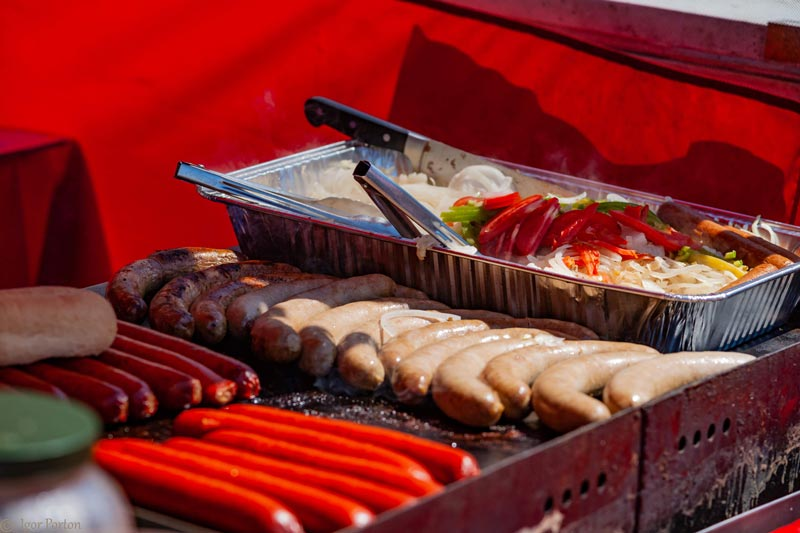 festival food including sausages, hotdogs and all the fixings